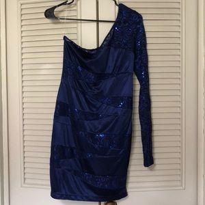 Blue lace sequin bodycon dress